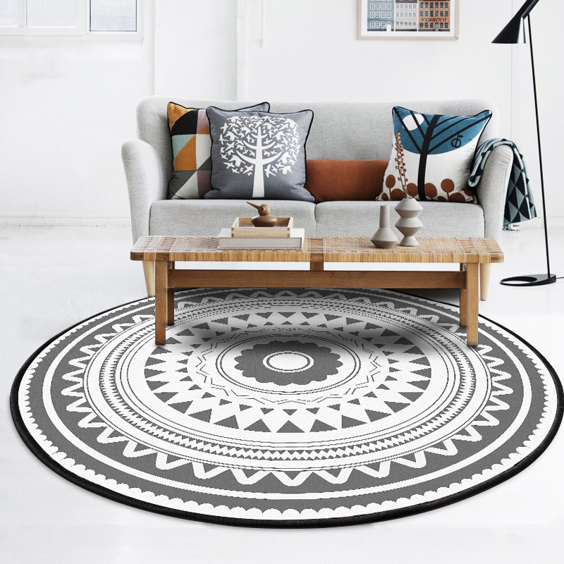 Loartee European Stripe Print Ethnic Style Round Rug Bedroom Living Room Childrens Kitchen Home Decoration Non-Slip Carpet