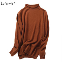 Lafarvie Autumn Winter Women Knitted Sweater Long Sleeve Loose Turtleneck Knitting Pullover Female Cashmere Sweater Crop