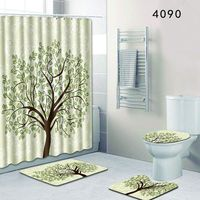 Tree Style Christmas Bathroom Shower Curtain and Bath Mat Non Slip and Toilet Mats Set 4PCS 50x80cm Foot Pads for Home Decor