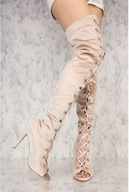 Sexy Women Thigh High Over the knee Boots Lace Up Heels Big Size Faux Velvet Size 4-15.5 Handmade Support custom size дефлектор капота bmw капота x5 2007 2013 classic прозрачный