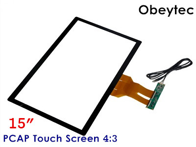 Obeytec 15 Capacitive Touch Panel, USB/ I2C Port, 10 Touches, P CAP, 4:3, For LCD display monitor