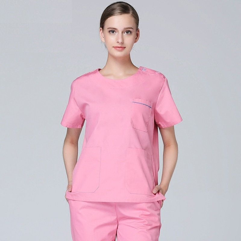 New arrival hospital high quality women pink scub suits round collar short sleeve medical surgical scub clothes with pants