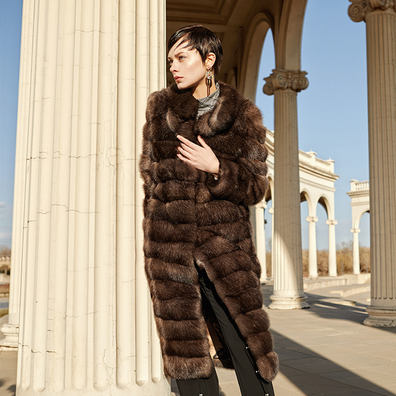 LVCHI Winter 2018 European advanced custom imported Russian sable Mink Fur Coat Mandarin Collar Wave Cut X-Long Mink Fur Coat