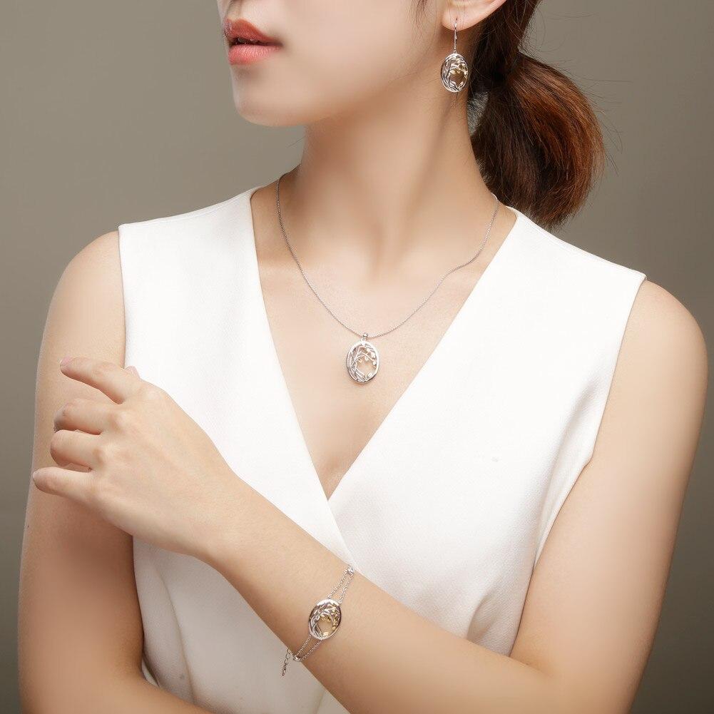 SA SILVERAGE 925 de plata de ley oro amarillo Color conjuntos de joyas para mujer, árbol de la vida colgante de plata collares pendientes conjuntos - 2