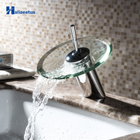 Bathroom Glass Waterfall Faucet Chrome Finished Bathroom Sink Faucet.Hot & cold Deck Mounted Sink Mixer Tap