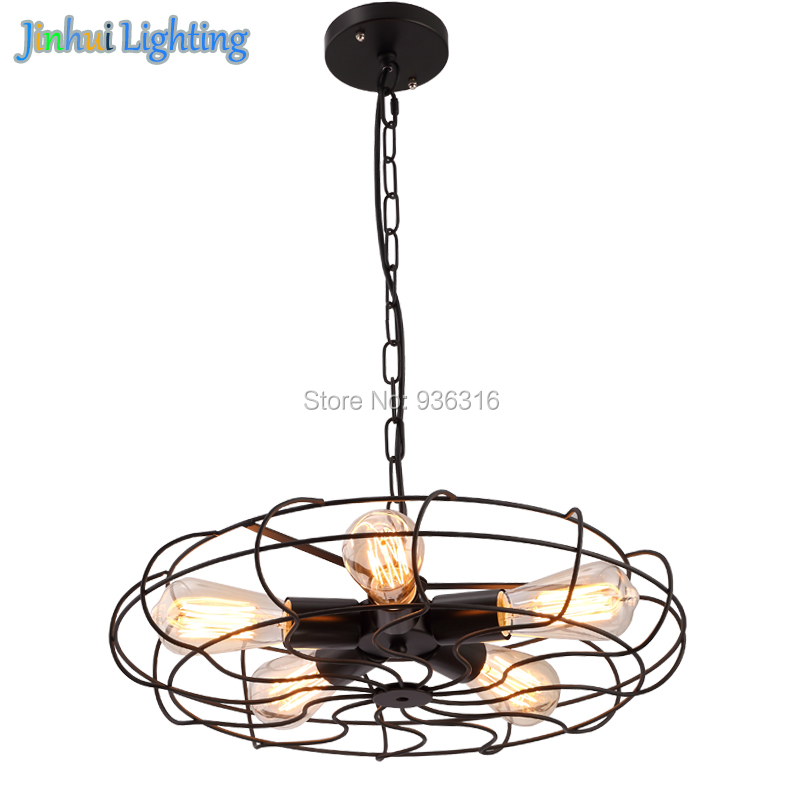 Vintage Barn Metal Hanging <font><b>Ceiling</b></font> light Max. 200W With 5 Lights Painted Finish Vintage Retro Industrial Fan <font><b>Ceiling</b></font> Lights