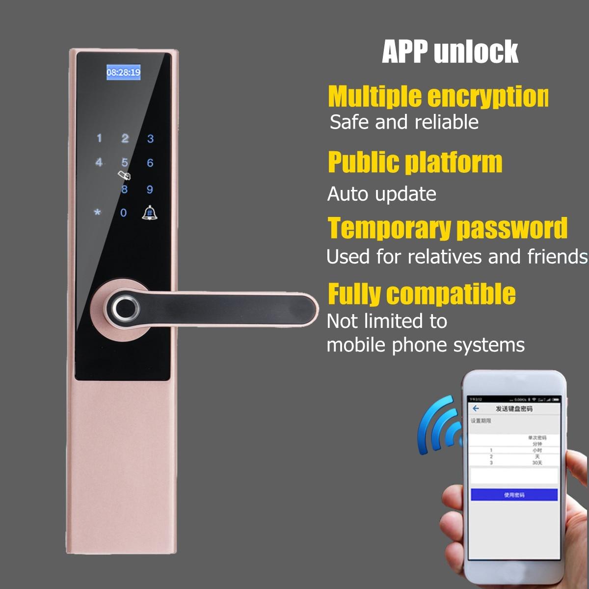 Serrure intelligente d'empreinte digitale de porte serrure de clé à la maison Wifi mot de passe serrure de carte RFID sans fil App téléphone télécommande 5 en 1