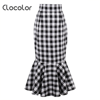Clocolor woman fishtail skirt retro black white plaid fishtail skirt 2017summer vintage sexy Female trumpet cotton mermaid skirt