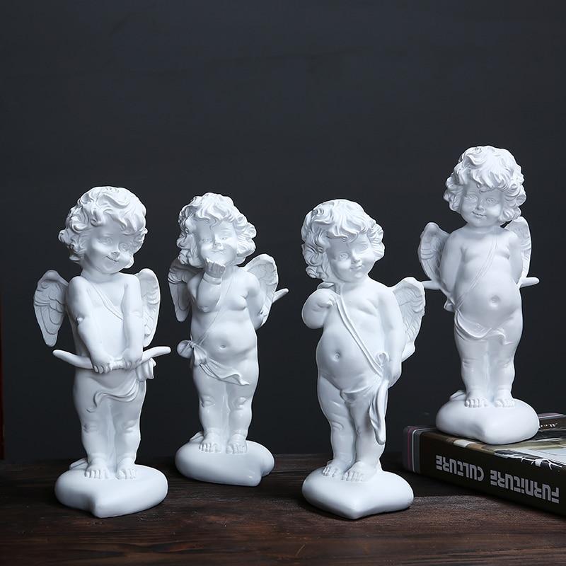 Kiss Angel Ornaments Lovers Resin Crafts Cupid Angel Sculpture Wedding Photography Kewpie Doll Cherub Figurine Decor R818 Figurines & Miniatures     - title=
