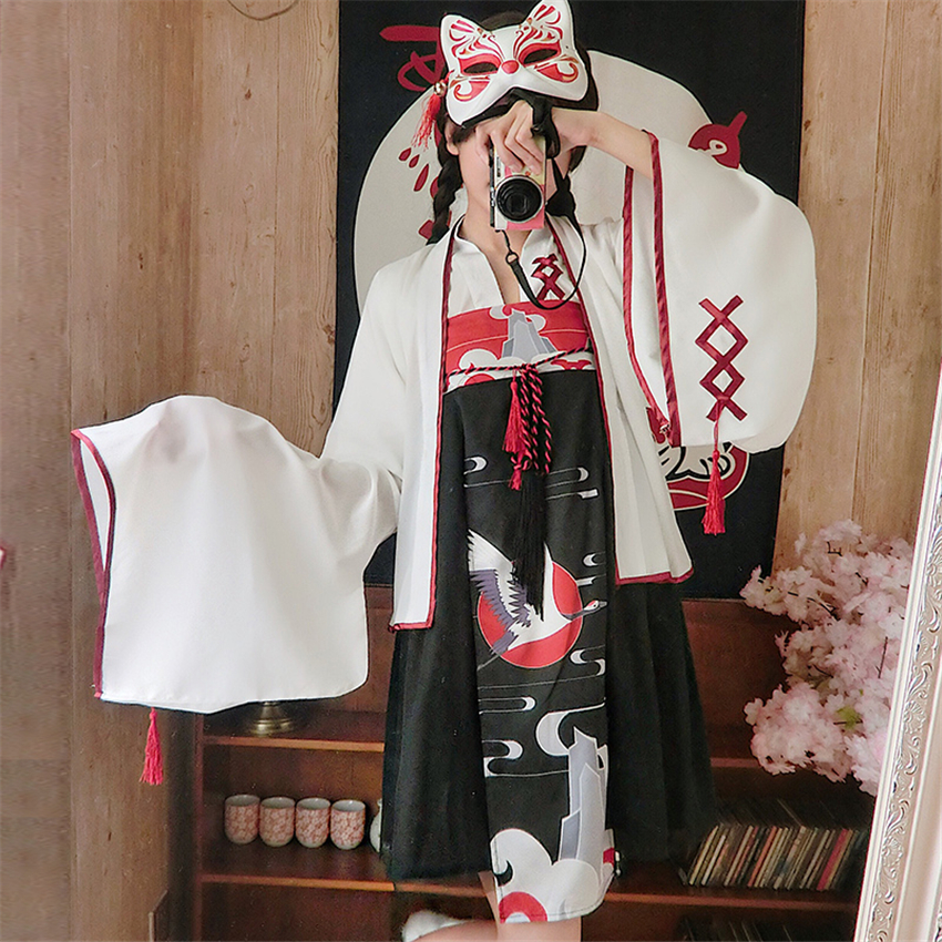 Ancient Oriental Woman Fashion Kimono Summer Crane Printed Outfits Japanese Style Clothing Girls Party Dress Haori Stage Costume