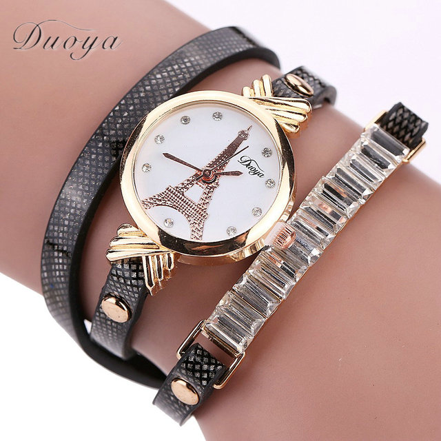 New Fashion Women Tower Dress Watch Leather Lady Bracelet Watch Casual Wristwatc