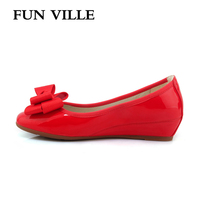 FUN VILLE 2018 Spring Women Flats Patent Leather Height Increase Women Casual Shoes Round Toe Mother