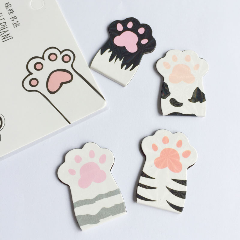 4pcs/Set Kawaii Cat Paw Magnetic Bookmarks Books Marker Of Page Stationery School Office Supply Student Prize