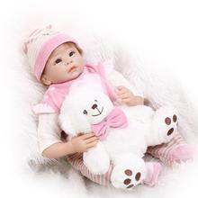 Nicery 22inch 55cm Reborn Baby Doll Magnetic Mouth Soft Silicone Lifelike Girl Toy Gift for Children Christmas Bear Pink White