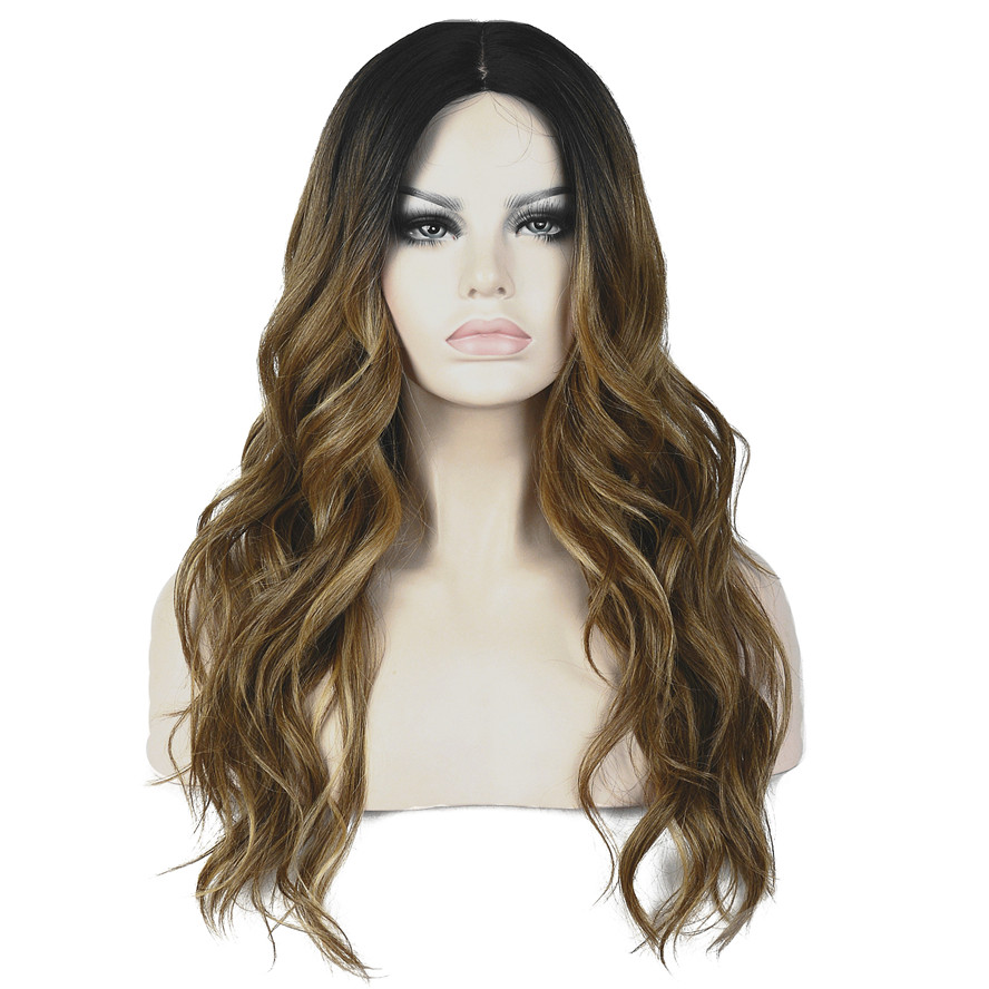 StrongBeauty Women s Ombre Wig Long Curly Hair Brown With Dark Root Synthetic Full Wigs