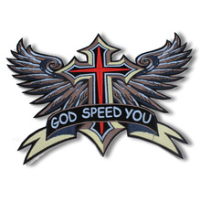 Embroidered Iron On Patches Large Punk Skull patch Cross Patches For Biker Vest Badges sew on boy's Clothing decoration
