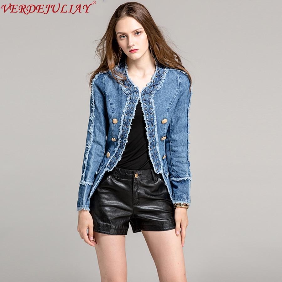 Streetwear UK Style Short Jackets New 2017 Early Autumn Fashion Women Slim Rough Hem Double Breasted Denim Blue Hot Sale Coat