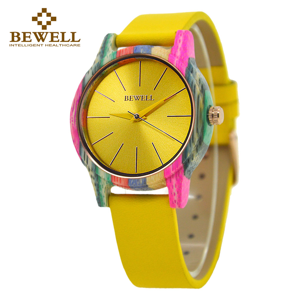 Elegant Ladies Bamboo High Quality Watch; Multi-Colored Leather Strap