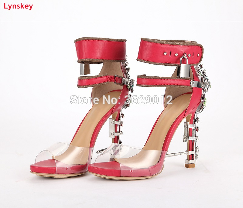 Lynskey Luxury Jeweled Women Gladiator Sandals Pvc  High Heels Woman Mixed-color Crystal Ankle Strap Rhinestone Sandals 2017 new ankle wrap rhinestone high heel shoes woman abnormal jeweled heels gladiator sandals women pvc padlock sandals shoes