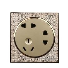 86 Тип шампанского Золотая настенная панель розетки Twenty-Two Plug Seven-Hole розетка PC220V 10A