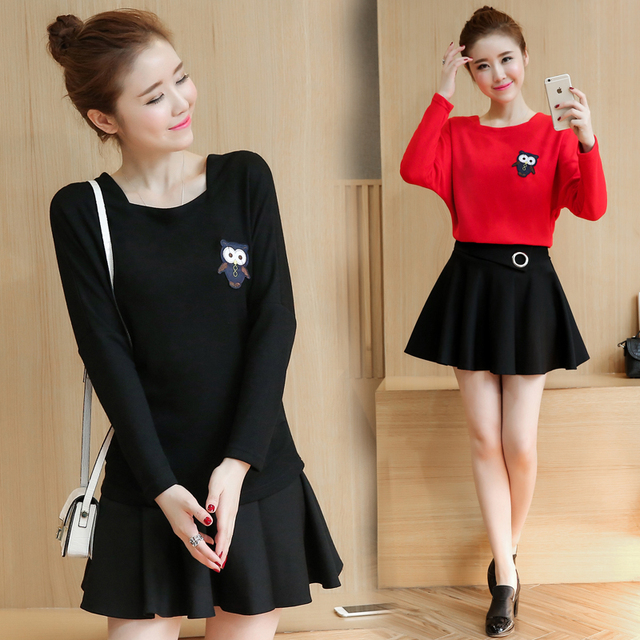 New Spring Korean Fashion Women Blouse Top And Black Skirt 2 Pcs Clothing  Set Casual Suits