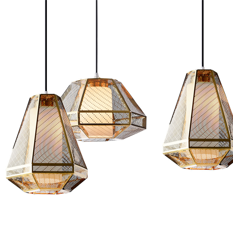 Postmodern Led Pendant Light Living Room Dining Room Lighting Creative Iron Lamps Design Industrial Luminaire Gold Luster
