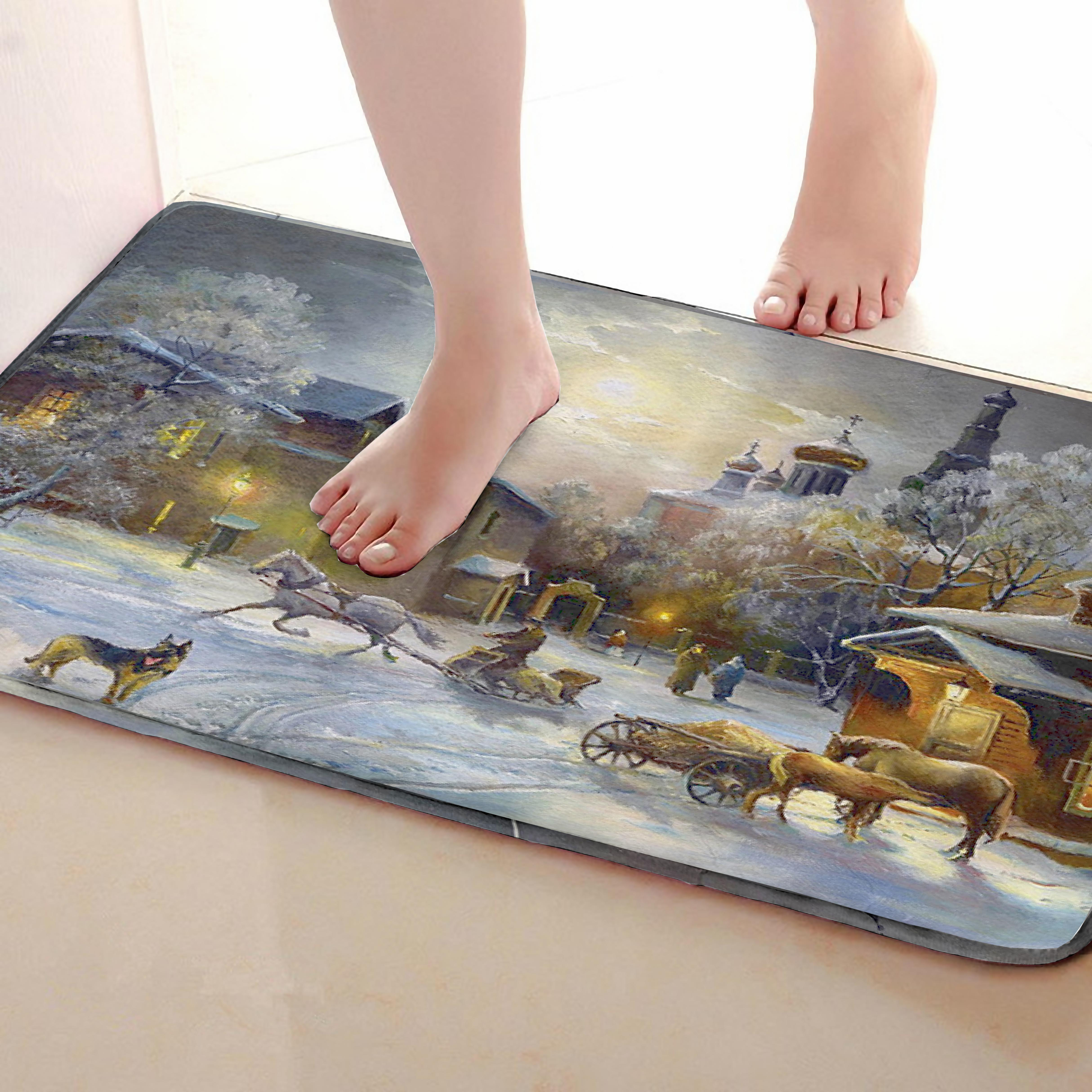 Winter Style Bathroom Mat,Funny Anti Skid Bath Mat,Shower Curtains Accessories,Matching Your Shower Curtain