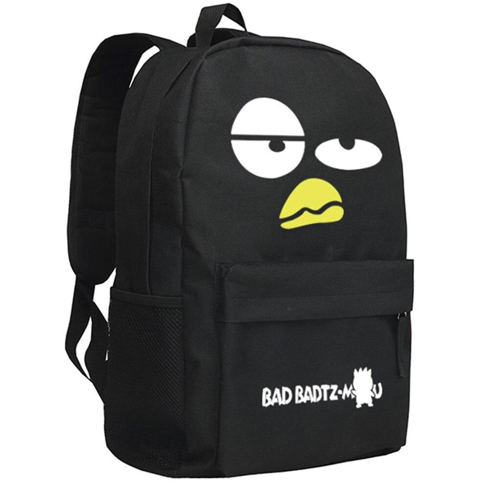 Zshop BAD BADTZ MARU Backpack Cute XO Penguine School Bag for Teenage Boys Girls Cartoon Children Daypack