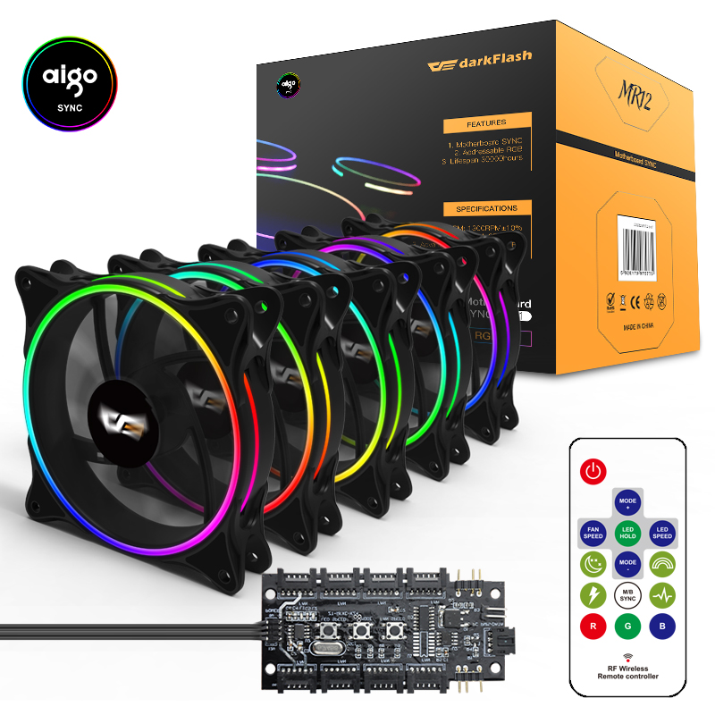 Aigo MR12 aura sync Computer Case PC Cooling Fan RGB Adjust LED 120mm Quiet IR Remote new computer Cooler Cooling RGB Case Fan