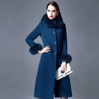 Cashmere jacket fashion luxury high quality big real fox fur collar thickening Slim wool coat women autumn winter coat DY16D016