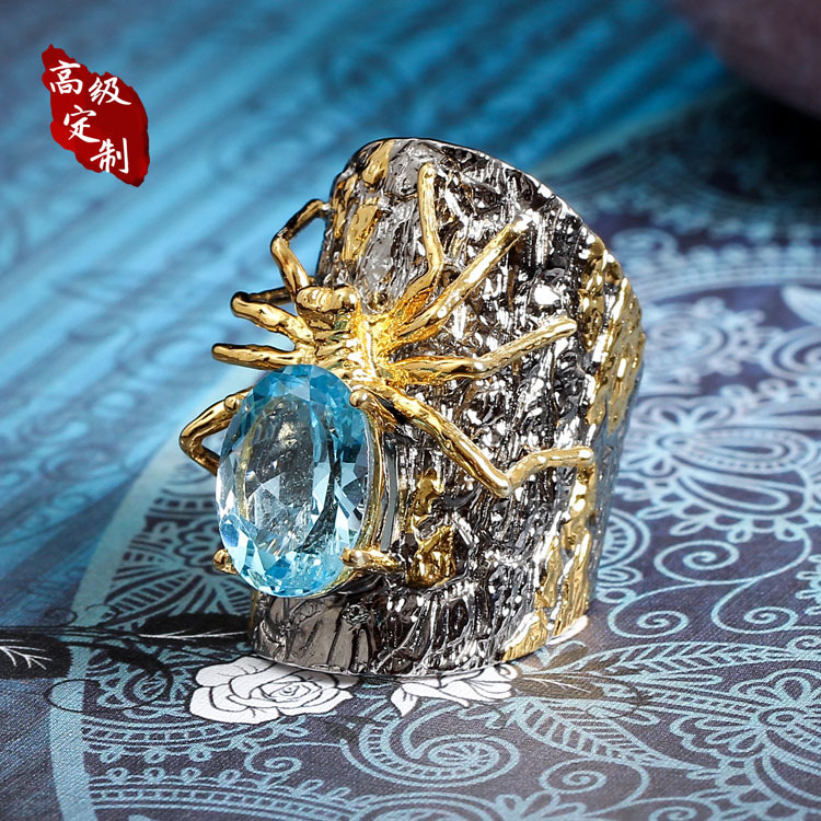 925 silver spider ring order Pearl ornaments product customization features original design custom made design by hand - 2