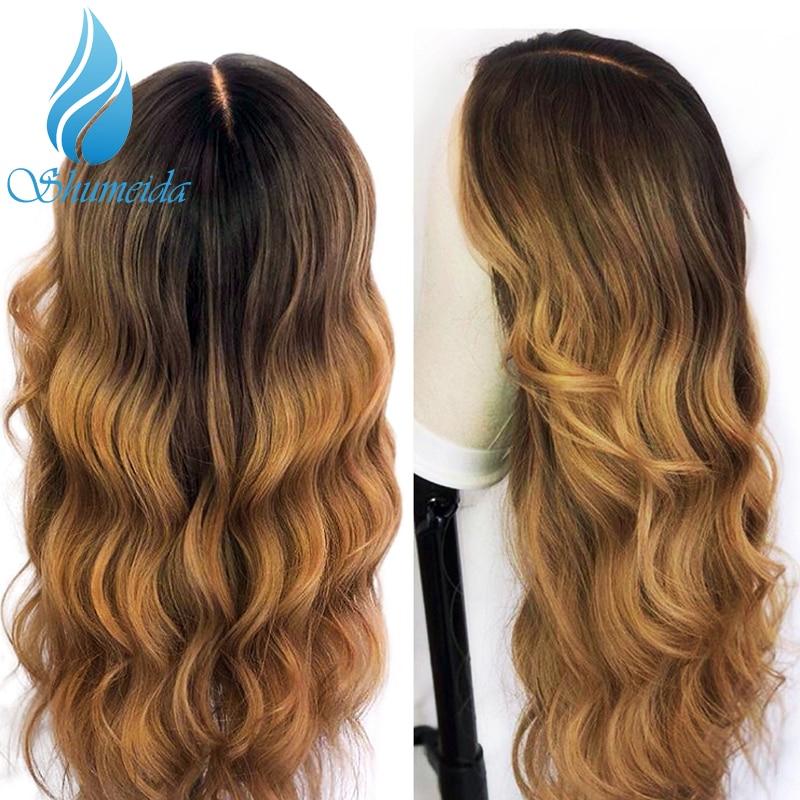 Shd ombre cor perucas dianteiras do laço para as mulheres brasileiro remy cabelo parte do meio perucas 100% cabelo humano peruca dianteira do laço com cabelo do bebê