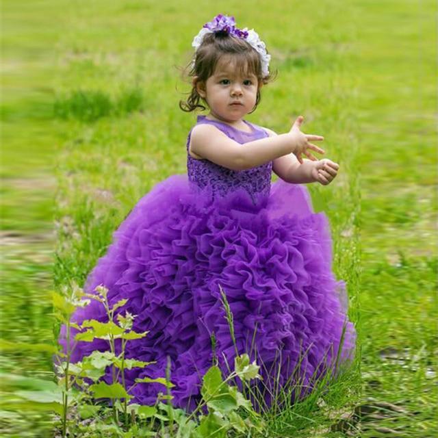 3277c722bed4 Tutu Purple Flower Girls Dresses For Wedding Sheer Neck Ruffles ...
