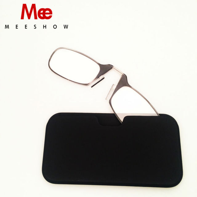 nose pod reading glasses 15 to 25 portable wallet reader with case