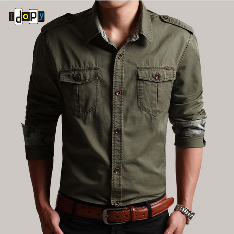 Idopy Casual Mens Pilot Shirt Long Sleeve Patchwork Pocket Shirts Men Hoodies Fashion Army Military Style Shirts For Male