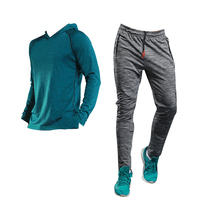 BARBOK Autumn Two Piece Mens Running Set Tracksuit Quick Dry Sport Suits Full Sleeve Hoodies Training Gym Fitness Male Clothes
