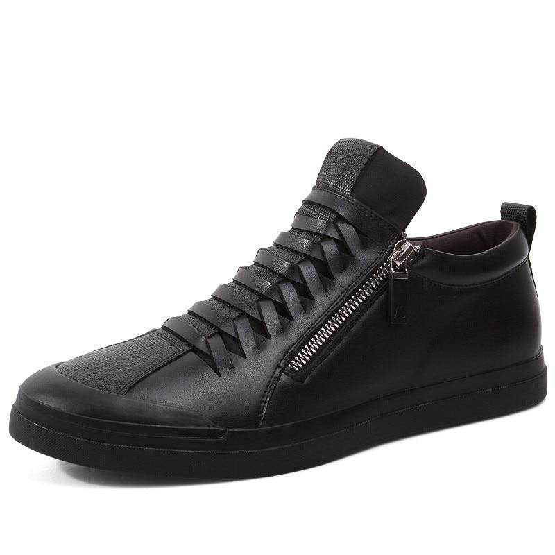 Con/sin forro de algodón hombres zapatillas de cuero negro cierre de cremallera Hombre Zapatos planos de moda Casual tamaño 38  44-in Zapatos informales de hombre from zapatos    1