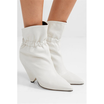 2020 Designer Winter White Ankle Boots Women Sexy Spike Heels Pointed Toe Slip On Short Boots Runway High Heels Shoes Women Boot