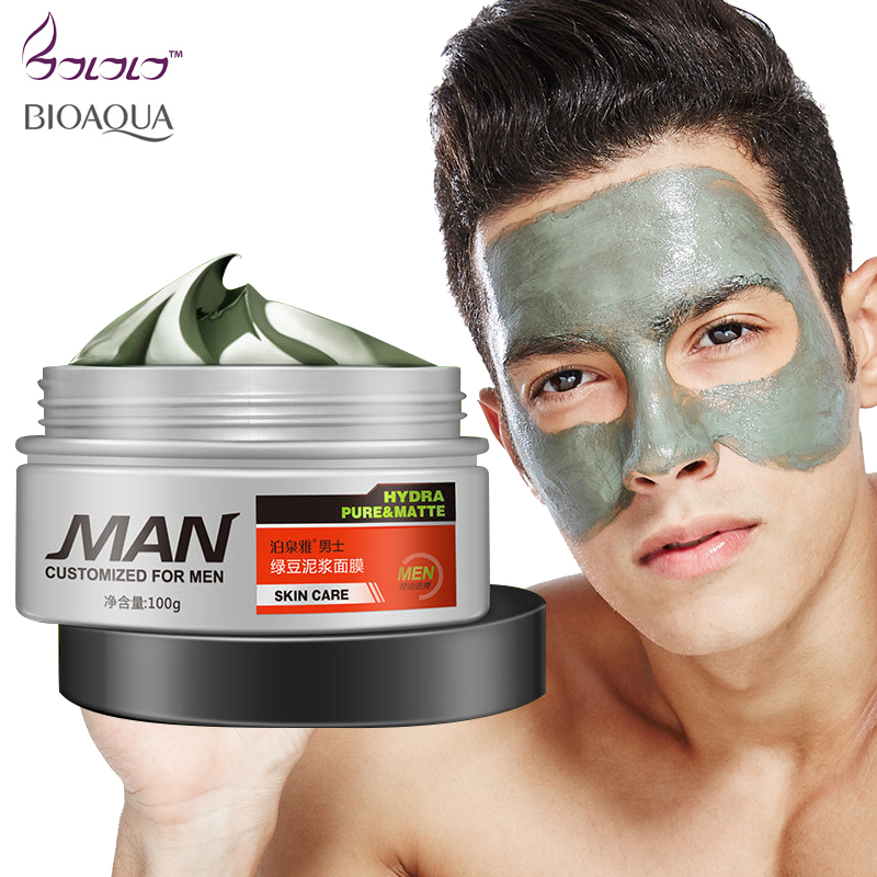 Bioaqua 100g Anti Aging Face Mask Volcanic Mud for Men Moisturizing Oil-control Whitening Remove Blackahead Acne Treatment Cream 100g natural organic herbal green papaya whitening handmade soap lightening skin remove acne moisturizing cleansing bath soap