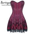 Mulheres steampunk burvogue corset shapers vestido lace vestido de festa sexy espartilho e bustier push up overbust gótico espartilho vestido
