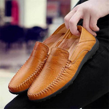 New Genuine Leather sneakers Men Casual Shoes Luxury Brand Mens Loafers Moccasins Breathable Slip on Driving Shoes Size 38-46 brand genuine leather shoes men big size 38 46 slip on loafers fashion quality business casual men driving shoes chaussure homme