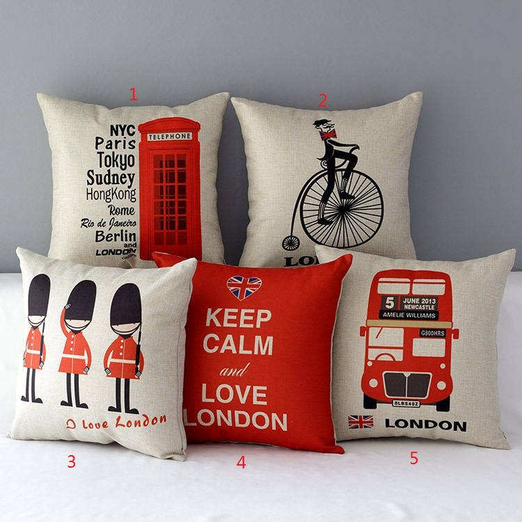Love London Characters Linen Cotton Cushion Throw Pillow Cover Pillowcase Art Decorative Cojines patchwork