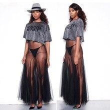 Echoine 2018 Super Sexy See-through Long Pleated Dress for Women  Personality Mesh Swing Long Dress Black Sleeveless Strap Dress 9636fb70ddda