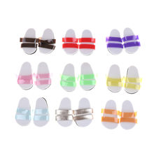 1Pair Beach Cute Sandals Shoes Flip Flop For 18 Inch Girl Doll Accessories Various Colors Baby Kids Gifts(China)