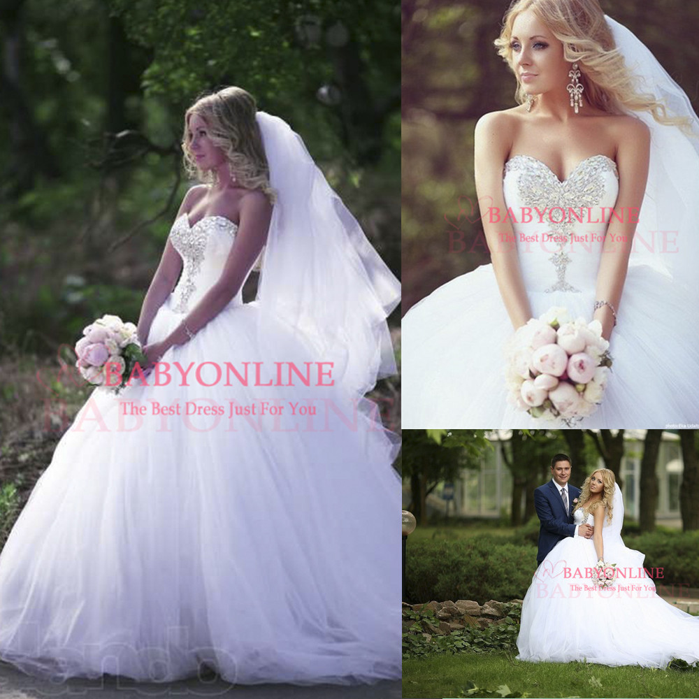 Vestidos 2014 Crystal Beaded Sweetheart Tulle Princess Ball Gown