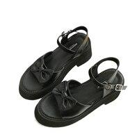 Sandalias Plataforma Mujer Summer Platform Shoes Casual High Heel Sandals Black Bow Womens Sandals Punk Shoes Female Sandals