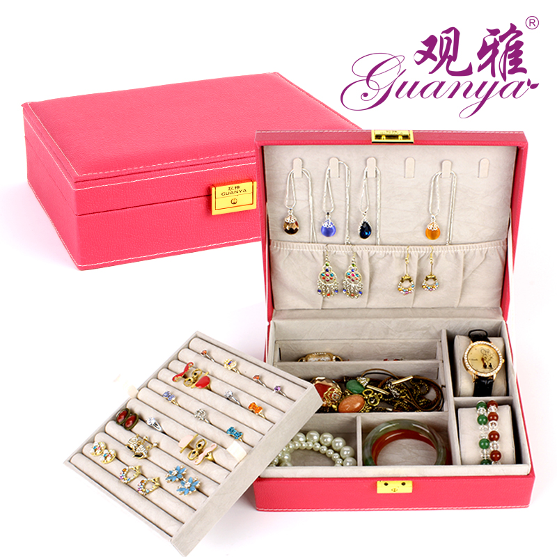 Free Shipping Vintage Super Nobel High Quality Leather Jewelry Box Princess Storage Box With Lock And Mirror Candy Color
