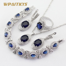 4pcs Women Silver Color Jewelry Sets Blue Crystal White Necklace Pendant Earrings Ring Bracelet Free Gift Box WPAITKYS все цены