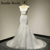 Vestido De Noiva 2014 Lace Wedding Dress With Sashes Elegant Mermaid Wedding Dresses 2014 Bridal Dresses
