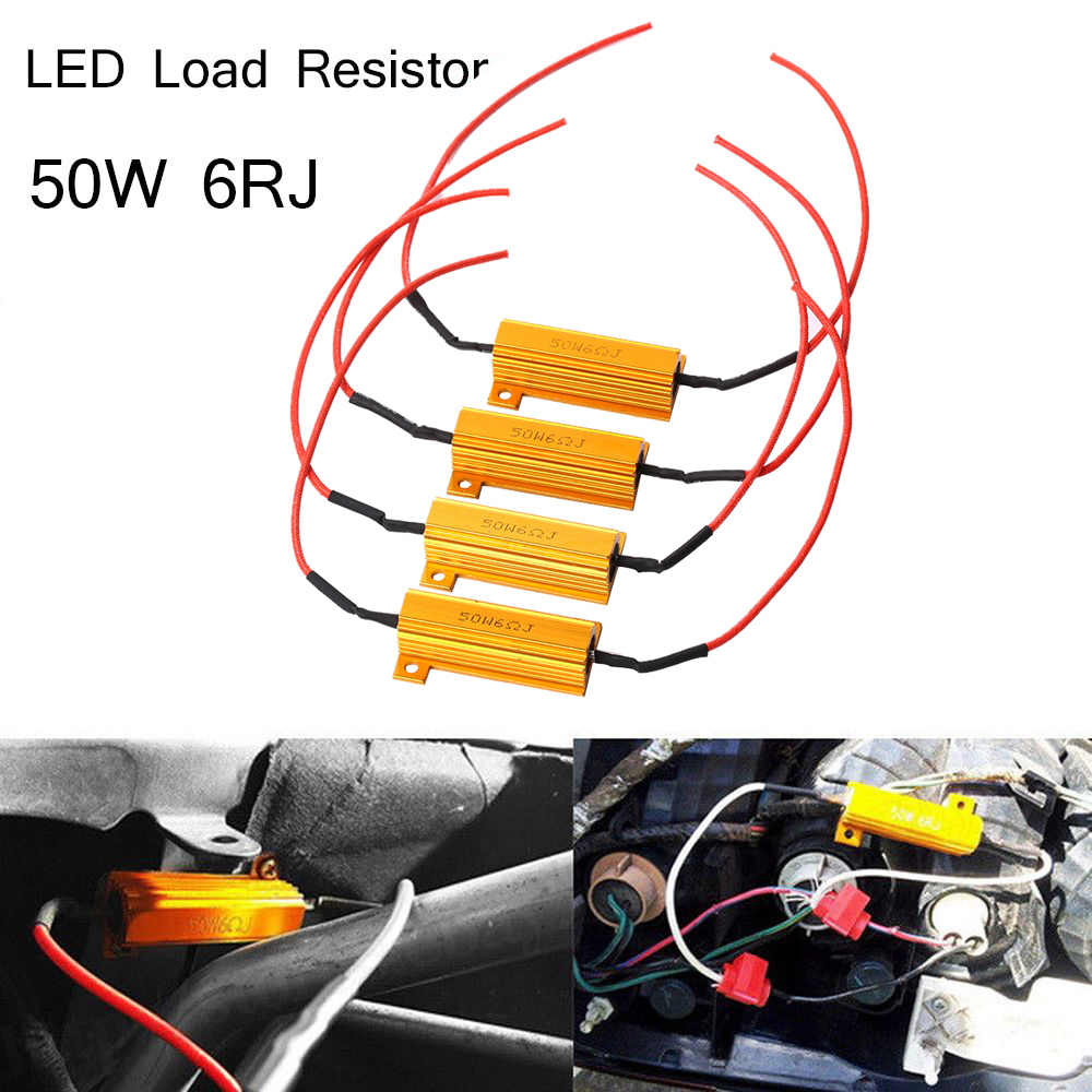 4x 50W 6ohm Load Resistor Fix Errors Turn Signal Bulb Brake Hyper Flash Blink Blinker Error For Auto Car LED Lamp Bulb